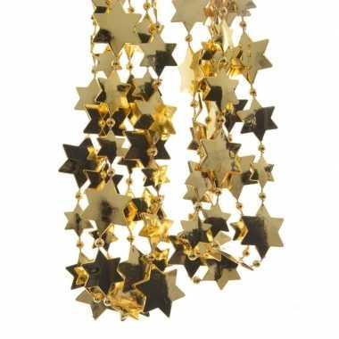 Gouden kerstboom sterren kralenketting 270 cm