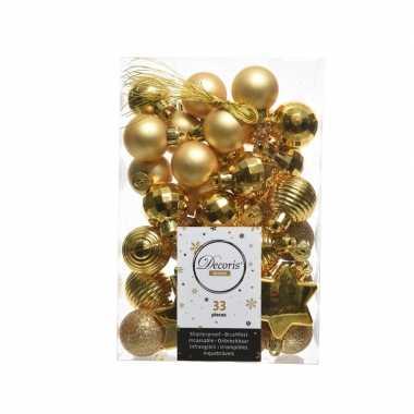 Gouden kerstboomballen set 33 stuks