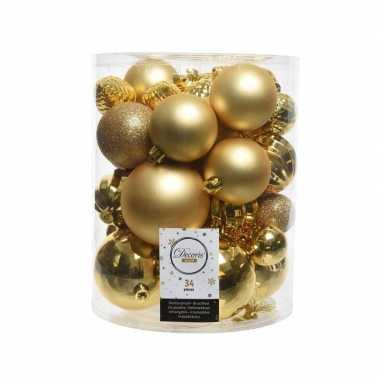 Gouden kerstboomballen set 34 stuks