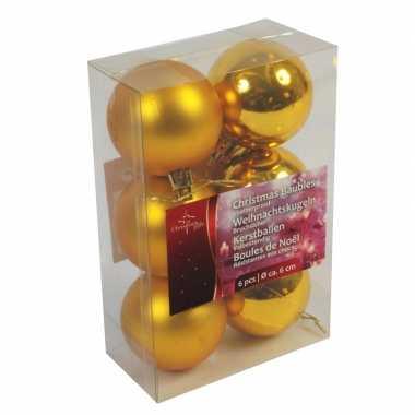 Gouden kerstdecoratie kerstballen set van kunststof 6 stuks