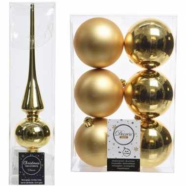 Gouden kerstversiering/kerstdecoratie set piek en 6x kerstballen 8 cm