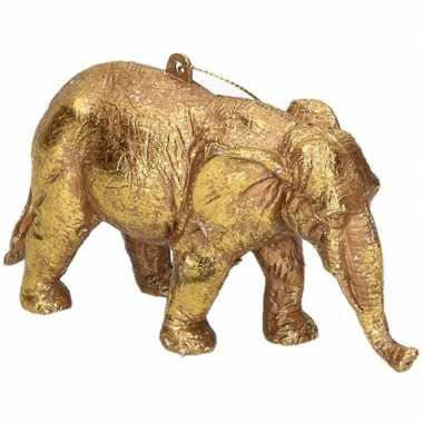 Gouden olifant kerstornamenten kersthangers 12 cm