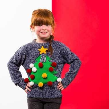 Grijze kerst sweater 3d kerstboom voor kinderen