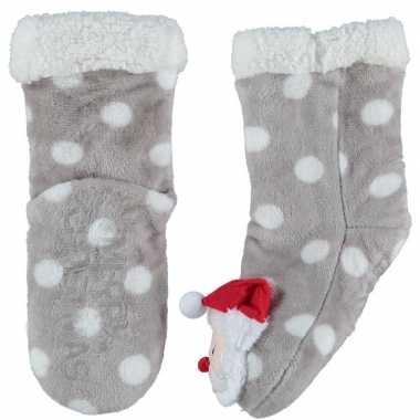 Grijze warm gevoerde kerstman kerstsokken voor kinderen