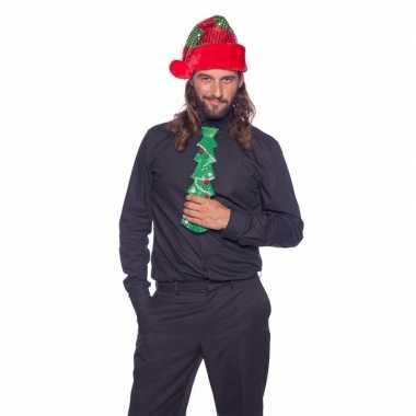 Groen stropdas kerstboom met glitters voor volwassenen