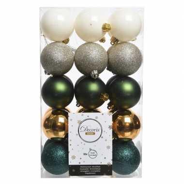 Groen/witte kerstballen set 6 cm