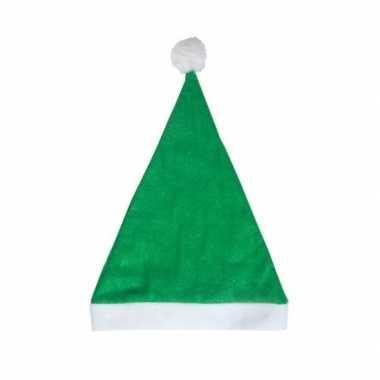 Groene budget kerstmuts voor volwassenen