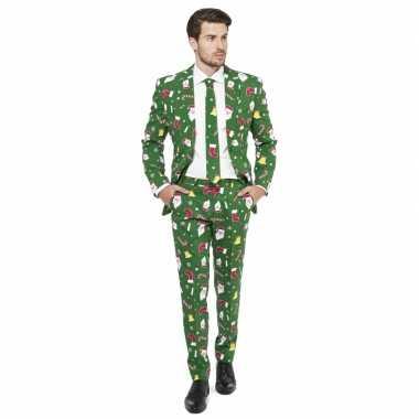 Groene business suit met kerst thema 10077605