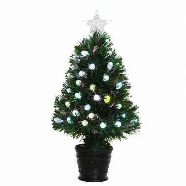 Groene glasvezel kunstkerstboom 90 cm met 84 lampjes