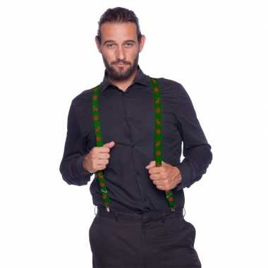 Groene kerst bretels met rode rendieren
