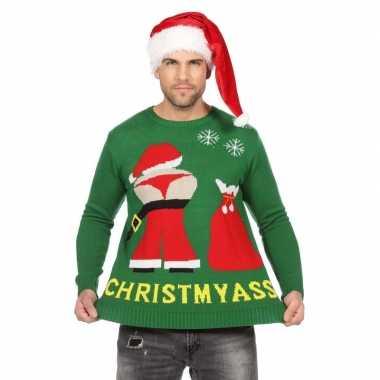 Groene kerst sweater met mooning kerstman voor heren