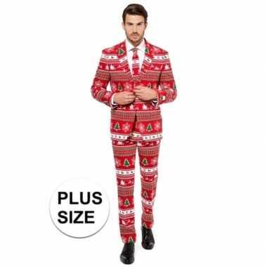 Grote maat rode business suit met kerst thema