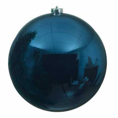 Grote raam/deur decoratie blauwe kerstbal van 14 cm