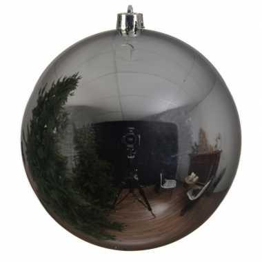 Grote raam/deur decoratie zilveren kerstbal van 14 cm