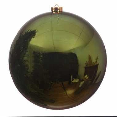 Grote raam/deur/kerstboom decoratie donkergroene kerstballen 20 cm glans