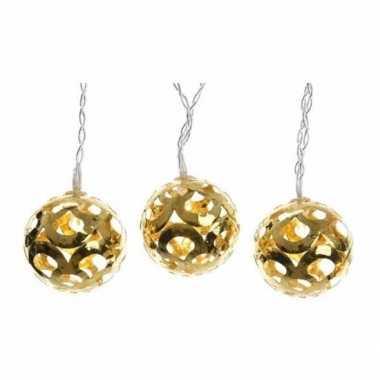 Hangende gouden kerstballen met led verlichting snoer 180 cm
