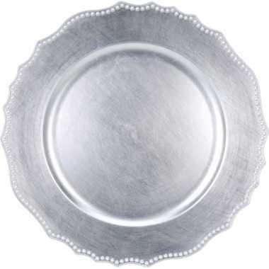 Hobby ronde zilveren borden 33 cm rond voor kerststukjes maken
