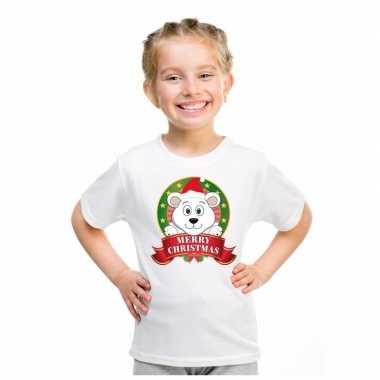 Ijsbeer kerstmis shirt wit voor jongens en meisjes