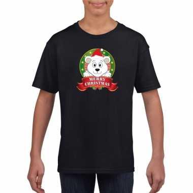 Ijsbeer kerstmis shirt zwart voor jongens en meisjes