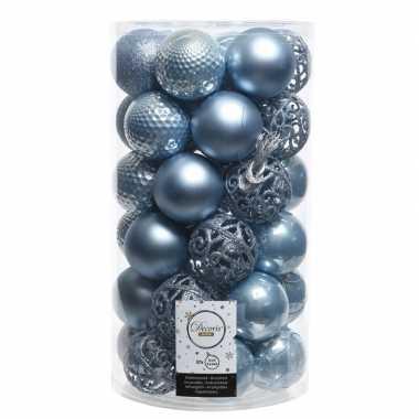 Ijsblauwe kerstballen set 6 cm 36 stuks