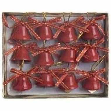 Ijzeren kerstbelletjes rood 12 stuks