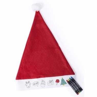 Inkleurbare kinder kerstmuts met krijtjes