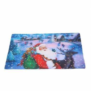 Kerst 3d onderlegger met kerstman en sneeuw