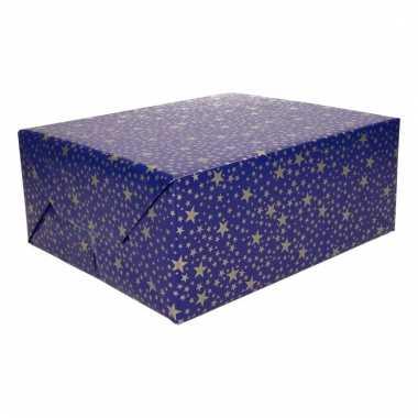 Kerst cadeaupapier blauw met gouden sterren