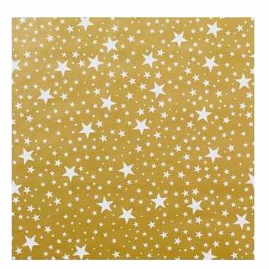 Kerst cadeaupapier goud met witte sterren