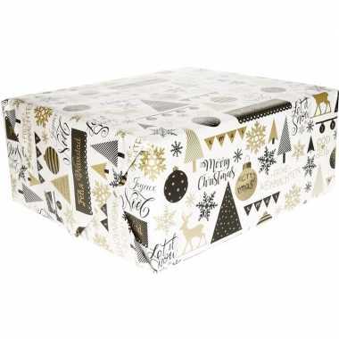 Kerst cadeaupapier wit/goud/zwart dessin 70 x 200 cm