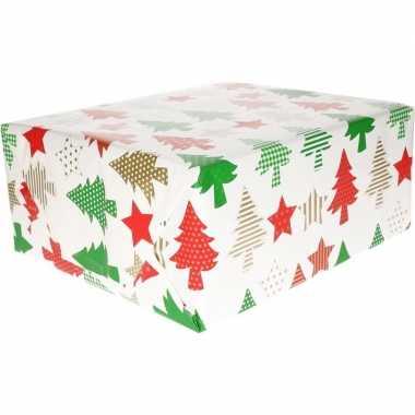 Kerst cadeaupapier wit/rode/gouden/groene kerstbomen en kerststerren