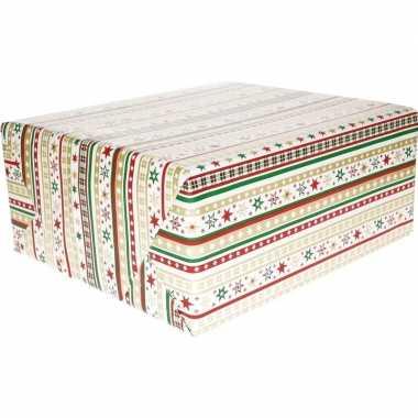 Kerst cadeaupapier wit/rode/gouden/groene strepen en sterren70 x 200