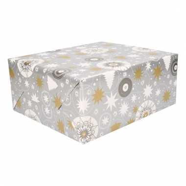 Kerst cadeaupapier zilver met print