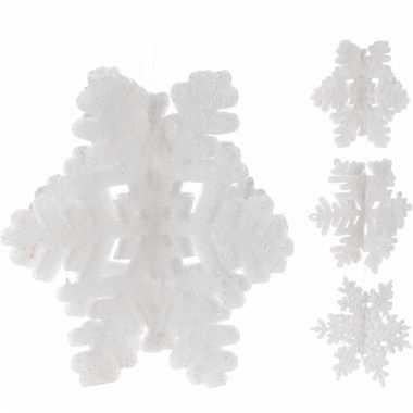 Kerst decoratie glitter sneeuwvlok wit 23 cm