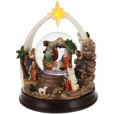 Kerst decoratie glitterbol/sneeuwbol 23 cm type 1 met verlichting