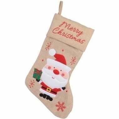 Kerst decoratie kerstsok met kerstman borduursel 41 cm