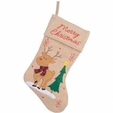 Kerst decoratie kerstsok met rendier borduursel 41 cm