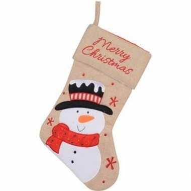 Kerst decoratie kerstsok met sneeuwpop borduursel 41 cm