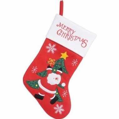 Kerst decoratie kerstsok rood met kerstman/kerstboom borduursel 40 cm