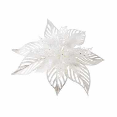 Kerst decoratie kerstster wit op clip 1