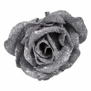 Kerst decoratie roos op clip zilver/glitter 9 cm
