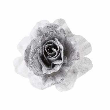 Kerst decoratie roos zilver wit op clip 18 cm