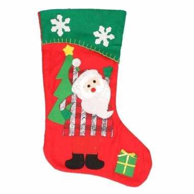Kerst decoratie sok kerstman rood/groen 43 cm