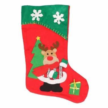 Kerst decoratie sok rendier rood/groen 43 cm