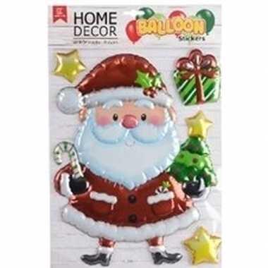 Kerst decoratie stickers 3d kerstman en sterretjes 28 x 41 cm