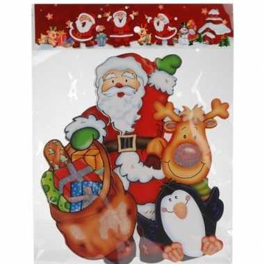 Kerst decoratie stickers 3d kerstman/pinguin 34 cm
