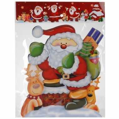 Kerst decoratie stickers 3d kerstman/rendieren 34 cm