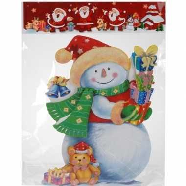 Kerst decoratie stickers 3d sneeuwpop 34 cm