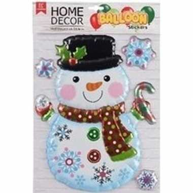 Kerst decoratie stickers 3d sneeuwpop en sneeuwvlokjes 28 x 41 cm