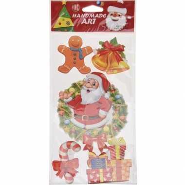 Kerst decoratie stickers 3d type 1 20 x 45 cm